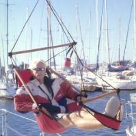 Hanging Red Air Chair on Sail Boat
