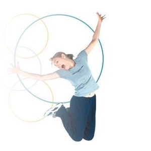 Young Girl jump up from a Needak Rebounder.