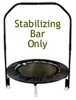 Picture of a stabilizer bar on a black Needak Rebounder.