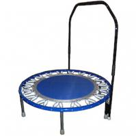 Picture of a Blue Needak Rebounder with stabilizer bar.